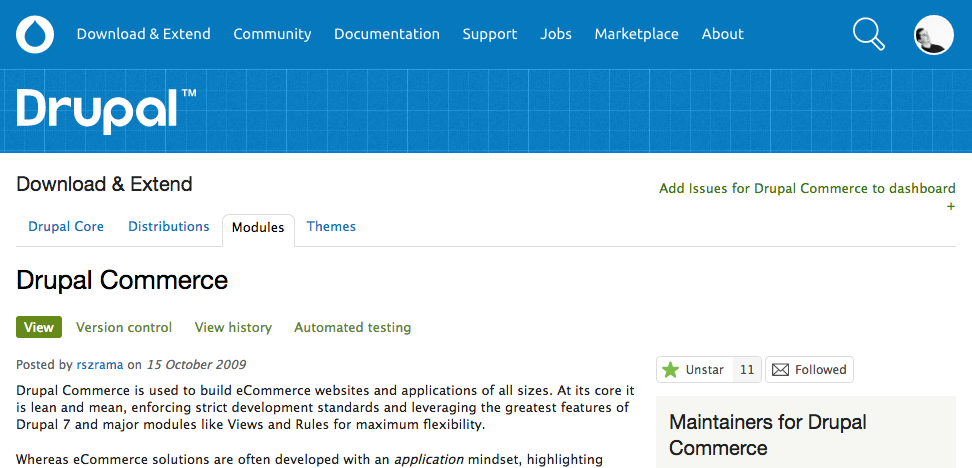 Drupal.org project star feature